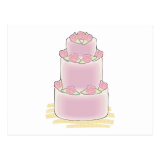 pink three layer cake postcard