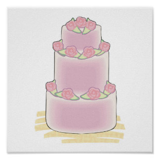 pink three layer cake poster