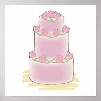 pink three layer cake poster