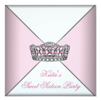 Pink Tiara Classy White Sweet Sixteen Party Announcements