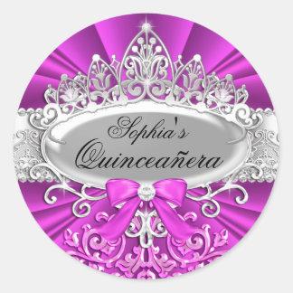 Pink Tiara & Damask Quinceanera Sticker Sticker