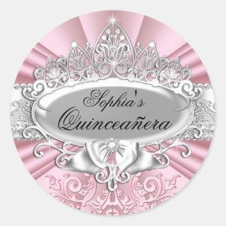 Pink Tiara & Damask Quinceanera Sticker