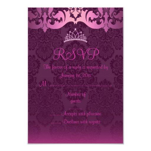 "Pink Tiara & Damask RSVP Card 3.5"" X 5"" Invitation Card"