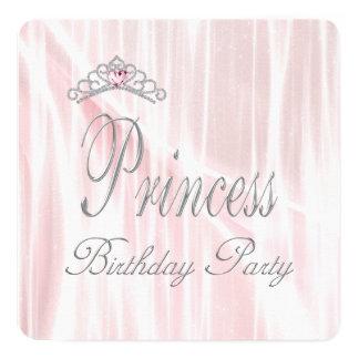 Pink Tiara Girls Princess Birthday Party 5.25x5.25 Square Paper Invitation Card