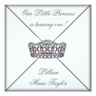 Pink Tiara Little Princess First Birthday Party Card