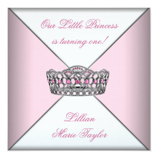 Pink Tiara Little Princess First Birthday Party 5.25x5.25 Square Paper Invitation Card