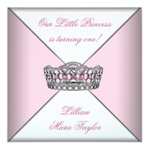 "Pink Tiara Little Princess First Birthday Party 5.25"" Square Invitation Card"