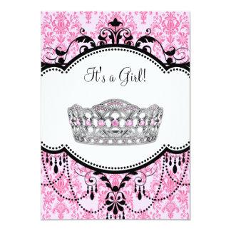 """Pink Tiara Pink Black Damask Baby Shower 5"""" X 7"""" Invitation Card"""