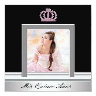 Pink Tiara Pink Black Photo Quinceanera Card