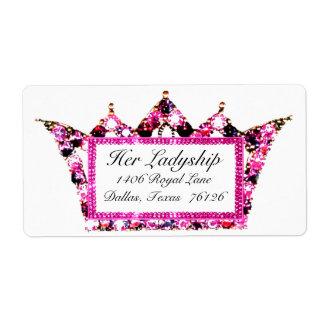 Pink Tiara Shipping Labels