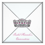 Pink Tiara White Classy Quinceanera 15th Party Invitations