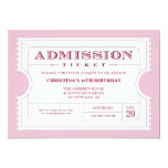 "Pink Ticket Party Invitation 5"" X 7"" Invitation Card"