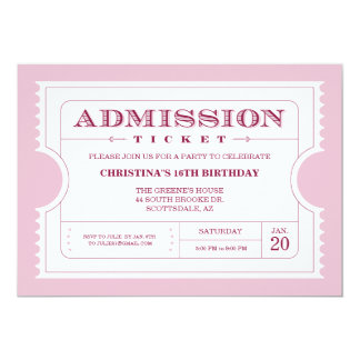 Pink Ticket Party Invitation