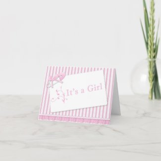 Pink Ticking and Ruffles Birth Announcement Greeting Card
