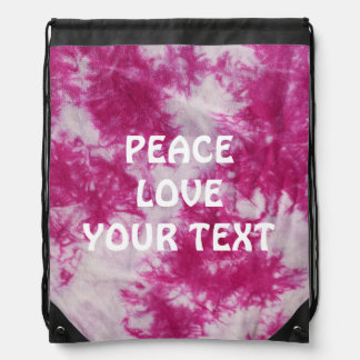 Pink Tie Dye Customized Drawstring Backpack