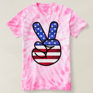 Pink Tie Dye Patriotic T-shirts, PEACE SIGN T-shirt