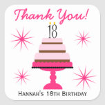 Pink Tiered Cake 18th Birthday Favor Stickers