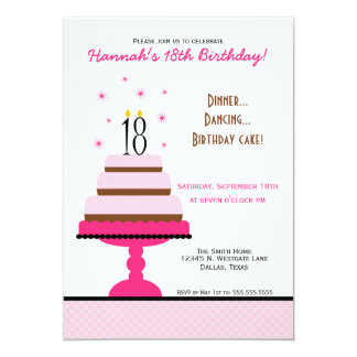 Pink Tiered Cake 18th Birthday Party Invitation