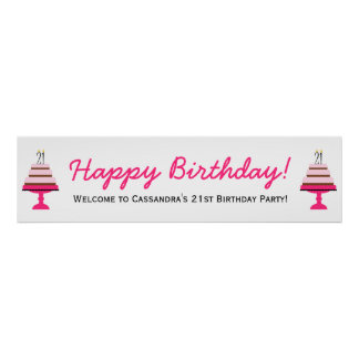 Pink Tiered Cake 21st Birthday Party Banner Poster