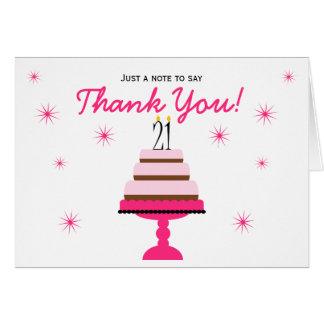 Pink Tiered Cake 21st Birthday Thank You Note Card
