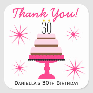 Pink Tiered Cake 30th Birthday Favor Stickers