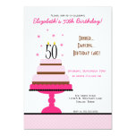 Pink Tiered Cake 50th Birthday Party Invitation