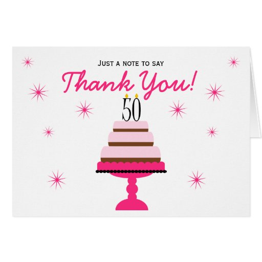 Pink Tiered Cake 50th Birthday Thank You Note Card