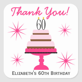 Pink Tiered Cake 60th Birthday Favor Stickers