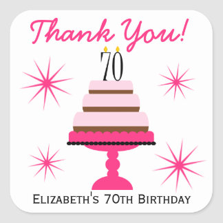 Pink Tiered Cake 70th Birthday Favor Stickers