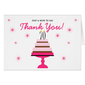 Pink Tiered Cake 70th Birthday Thank You Note Card