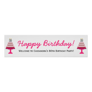 Pink Tiered Cake 80th Birthday Party Banner Poster