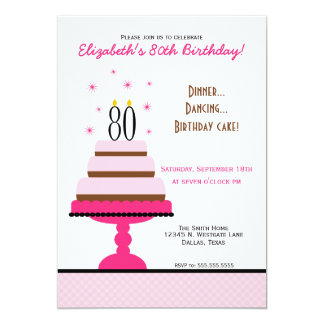 """Pink Tiered Cake 80th Birthday Party Invitation 5"""" X 7"""" Invitation Card"""