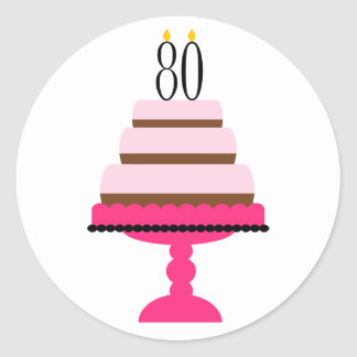 Pink Tiered Cake 80th Birthday Stickers