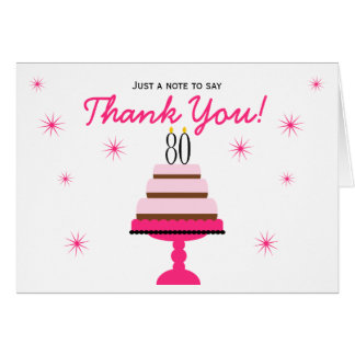 Pink Tiered Cake 80th Birthday Thank You Note Card