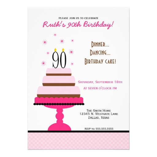 Pink Tiered Cake 90th Birthday Party Invitation
