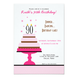 "Pink Tiered Cake 90th Birthday Party Invitation 5"" X 7"" Invitation Card"