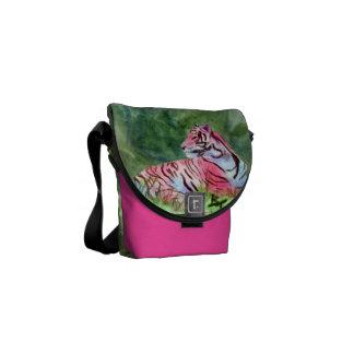 Pink Tiger aceo Mini Messenger Bag