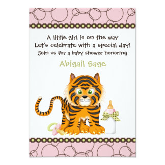 Pink Tiger Baby Shower Invitation for Girls