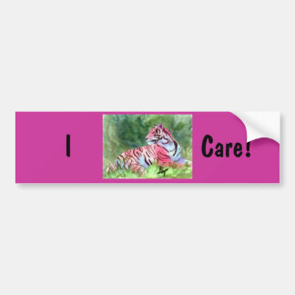Pink Tiger Breast Cancer Awareness Bumper Sticker