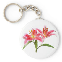 pink tiger lily - customizable keychain