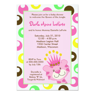 "Pink Tiger Queen of the Jungle 5x7 Baby Shower 5"" X 7"" Invitation Card"