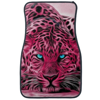 Pink Tiger Ready To Pounce Art Car Floor Mat
