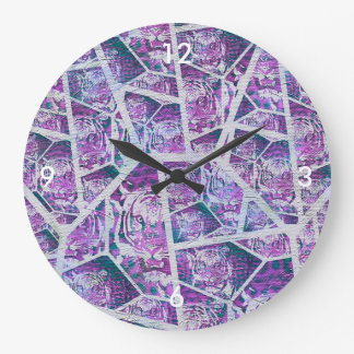 Pink Tiger Repeat Collage Large Clock