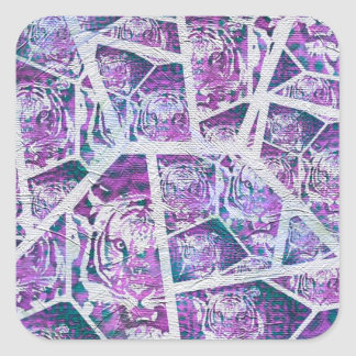 Pink Tiger Repeat Collage Square Sticker