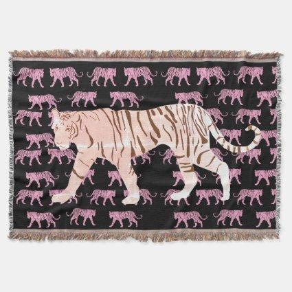 Pink Tiger Throw Blanket