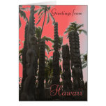 Pink tiki theme Hawaiian tropical greeting card