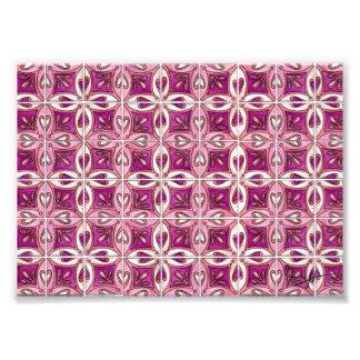 Pink Tile Design 2 - Hearts Photo Print