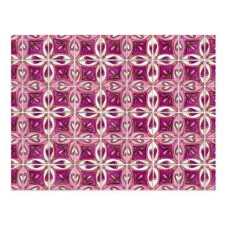 Pink Tile Design 2 - Hearts Postcard