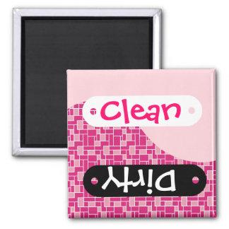 Pink Tile Wave Clean Dirty Dishwasher Magnets