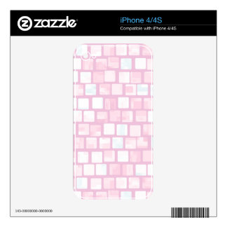 Pink Tiled Block Pattern Decal For The iPhone 4